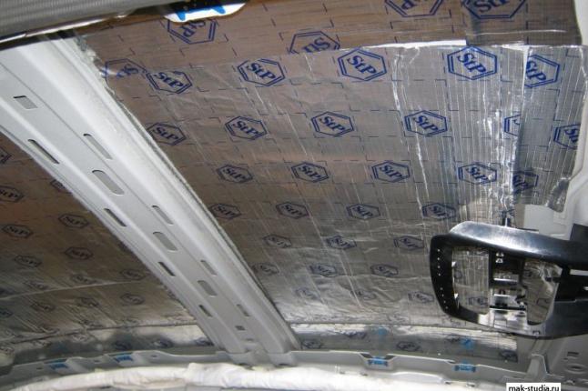 Первый слой (вибро) на потолок